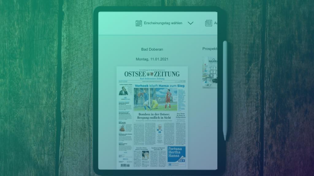 Die Ostsee-Zeitung als E-Paper. Foto Kelly Sikkema, Montage: Medieninsider